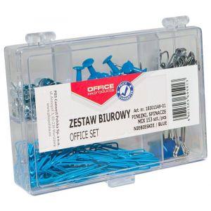Zestaw biurowy (pinezki, klipy i spinacze) OFFICE PRODUCTS, mix 153szt., niebieski
