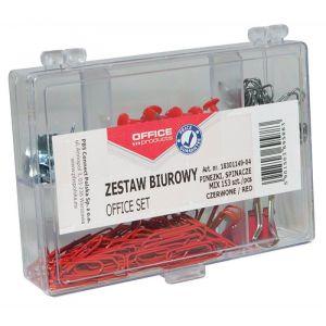 Zestaw biurowy (pinezki, klipy i spinacze) OFFICE PRODUCTS, mix 153szt., czerwony