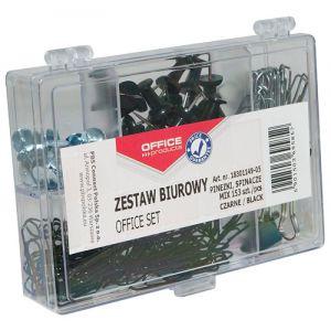 Zestaw biurowy (pinezki, klipy i spinacze) OFFICE PRODUCTS, mix 153szt., czarny