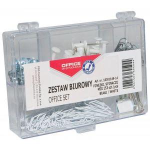 Zestaw biurowy (pinezki, klipy i spinacze) OFFICE PRODUCTS, mix 153szt., biały