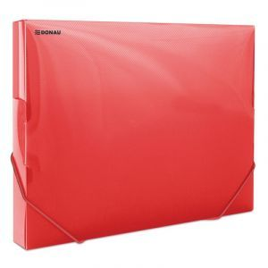 Teczka z gumką przestrz. DONAU, PP, A4/30, 700mikr., transparentna czerwona