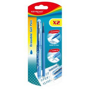 Długopis KEYROAD, 0,7mm, wymazywalny, dodatkowy wkład, blister, niebieski