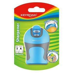 Temperówka KEYROAD Soft Touch, plastikowa, podwójna, ostrzenie w szpic, blister, mix kolorów