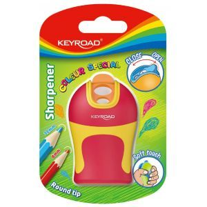 Pencil sharpener KEYROAD Soft Touch, plastic, double, rounded sharpening, blister pack, color mix