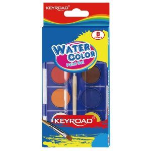 Watercolor paint KEYROAD, hanger, with brush, 8 colors