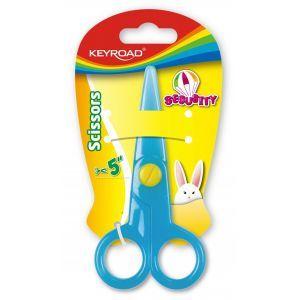Nożyczki szkolne KEYROAD Security, 12,5cm, zaokrąglone, blister, mix kolorów