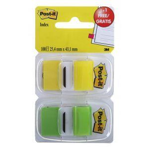 Zestaw zakładek indeksujących Post-it® (6923SP-45PO), pp, 25,4x43,1mm, 2x50 kart., żółty/zielony