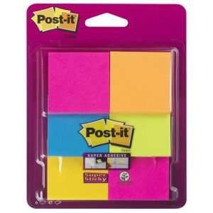 Post-it® Super Sticky Notes Assorted Colours, 6 Pads, 47.6 mm x 47.6 mm