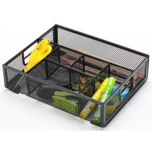 Organizer na biurko Q-CONNECT Office Set, metalowy, boczny, 6 komór, czarny