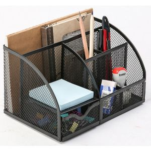 Przybornik na biurko Q-CONNECT Office Set, metalowy, z miejscem na listy, czarny
