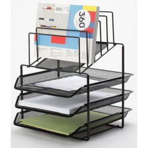 Zestaw na biurko Q-CONNECT Office Set, metalowy, z sorterem dokumentów, 3 szufladki, czarny
