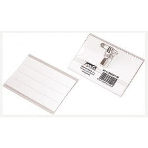 Identyfikator OFFICE PRODUCTS, z klipsem i agrafką, otwór z boku, miękki, transparentny