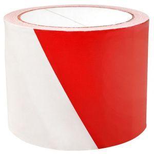 Taśma ostrzegawcza, 75mm, 100m, biało-czerwona