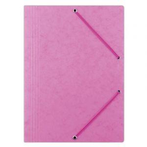 Teczka z gumką OFFICE PRODUCTS, preszpan, A4, 390gsm, 3-skrz., różowa
