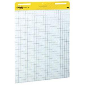 Samoprzylepne arkusze konferencyjne Post-it® Super Sticky, na flipchart, 63,5x76,2cm, w kratkę do wykresów, 30 kart., białe