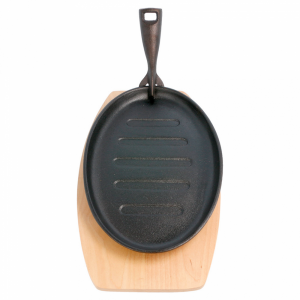 Cast iron platter with wooden base oval ribbed 27x18x2 cm (k/8)