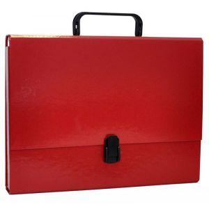 Teczka-pudełko OFFICE PRODUCTS, PP, A4/5cm, z rączką i zamkiem, bordowa