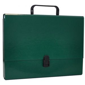 Teczka-pudełko OFFICE PRODUCTS, PP, A4/5cm, z rączką i zamkiem, zielona