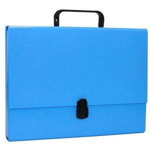 Teczka-pudełko OFFICE PRODUCTS, PP, A4/5cm, z rączką i zamkiem, niebieska