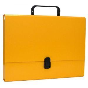 Teczka-pudełko OFFICE PRODUCTS, PP, A4/5cm, z rączką i zamkiem, żółta