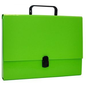 File Box OFFICE PRODUCTS, PP, A4/5cm, with handle and clip lock, light green