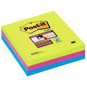 Karteczki samoprzylepne POST-IT® Super Sticky XL w linię (675-6SSUC), 101x101mm, 3x70 kart., paleta marrakesz
