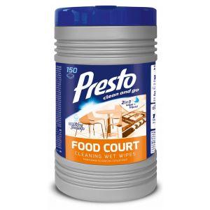 Ściereczki czyszczące PRESTO Food Court, w tubie, 150szt., białe