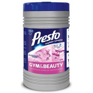 Ściereczki dezynfekujące PRESTO Gym&Beauty, w tubie, 150szt., białe