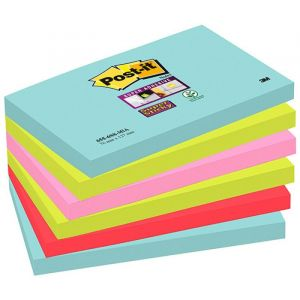 Post-it® Super Sticky Notes MIAMI Colours, 6 Pads, 76 mm x 127 mm