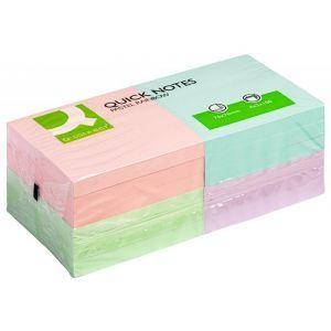 Bloczek samoprzylepny Q-CONNECT Rainbow, 76x76mm, 4x3x80 kart., pastel, mix kolorów