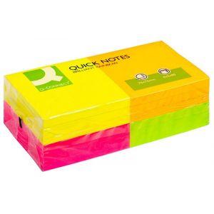 Bloczek samoprzylepny Q-CONNECT Rainbow, 76x76mm, 4x3x80 kart., neon, mix kolorów