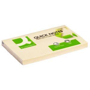 Bloczek samoprzylepny Q-CONNECT 100% Recycled, 127x76mm, 100 kart., żółty