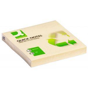 Bloczek samoprzylepny Q-CONNECT 100% Recycled, 76x76mm, 100 kart., żółty