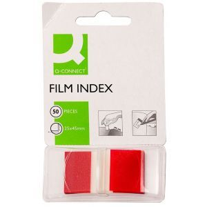 Filing Index Tabs Q-CONNECT, PP, 25,4x43,7mm, 50 sheets, red