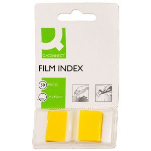 Filing Index Tabs Q-CONNECT, PP, 25,4x43,7mm, 50 sheets, yellow