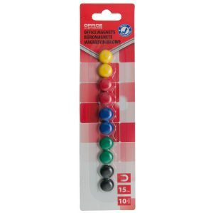 Magnesy do tablic OFFICE PRODUCTS, okrągłe, średnica 15mm, 10szt., blister, mix kolorów