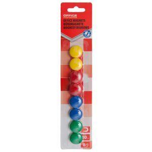 Magnesy do tablic OFFICE PRODUCTS, okrągłe, średnica 20mm, 8szt., blister, mix kolorów