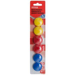 Magnesy do tablic OFFICE PRODUCTS, okrągłe, średnica 30mm, 6szt., blister, mix kolorów