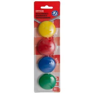 Magnesy do tablic OFFICE PRODUCTS, okrągłe, średnica 40mm, 4szt., blister, mix kolorów