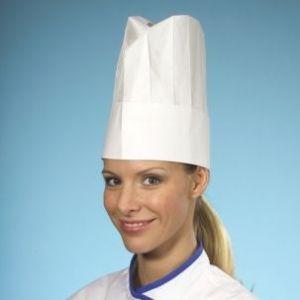 Czapki kucharskie z bibuły 25 cm PROVENCE op.10 sztuk białe, regulowany rozmiar