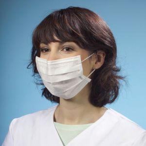 Maska higieniczna 3-warstwowa z włókniny, 17,5 cm x 9 cm, kolor biały, ze wzmocnieniem na nos, opakowanie 50 sztuk