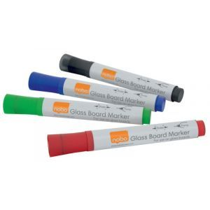 Glass Whiteboard markers NOBO, 4pcs, color mix