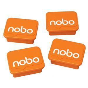 Magnesy do tablic NOBO, prostokoątne, 18x22mm, 4szt., pomarańczowe