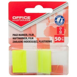 Filing Index Tabs OFFICE PRODUCTS, PP, 25x43 mm, 50 tabs, blister, yellow