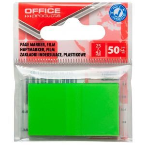 Filing Index Tabs OFFICE PRODUCTS, PP, 25x43 mm, 50 tabs, polybag, green