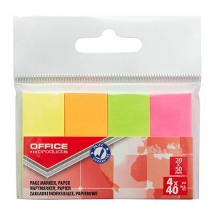 Filing Index Tabs OFFICE PRODUCTS, paper, 20x50 mm, 4x40 tabs, polybag, neon assorted colors