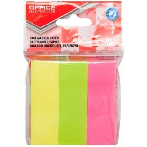 Filing Index Tabs OFFICE PRODUCTS, paper, 26x76 mm, 3x100 tabs, polybag, assorted colors