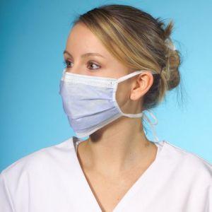 Maska higieniczna 3 warstwowa z włókniny, 17,5 cm x 9 cm, niebieskie, ze wzmocnieniem na nos, opakowanie 50szt