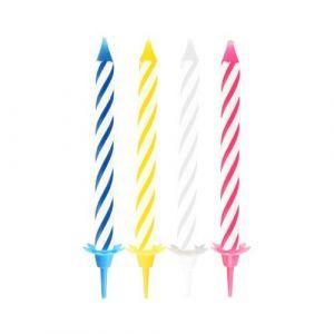 Świeczki urodzinowe mix kolorów, opakowanie 24 z podstawkami, 6 cm PAPSTAR