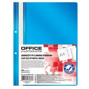 Skoroszyt OFFICE PRODUCTS, PP, A4, 2 otw ory, 100/170mikr., wpinany, niebieski